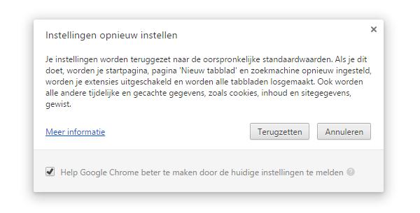 Instellingen Google Chrome