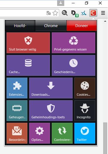Het menu van Click & Clean met onderaan Opties...