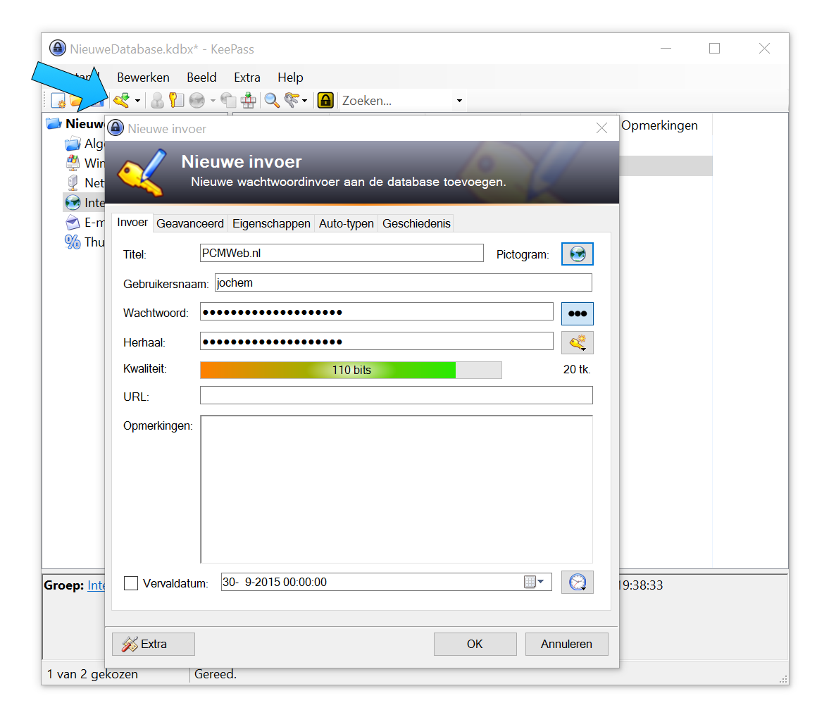 De knop bij de blauwe pijl laat je een nieuwe gebruikersnaam en wachtwoord toevoegen