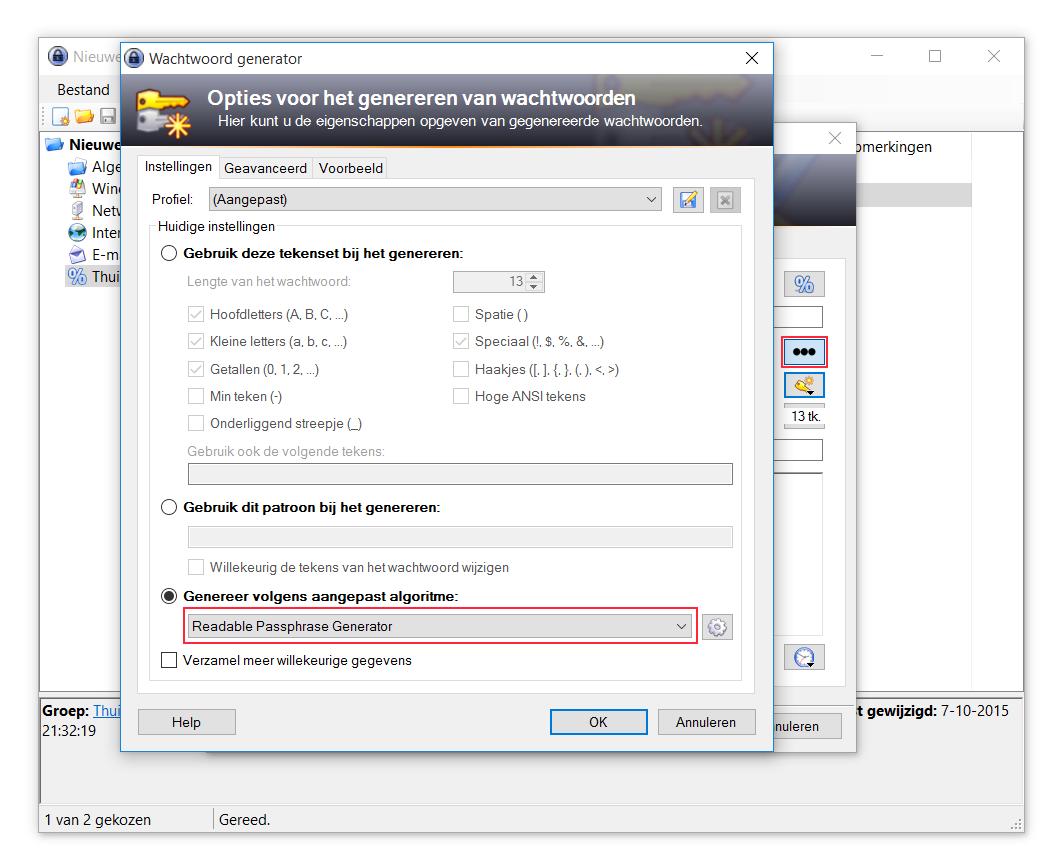 Klik eerst op de drie puntjes en selecteer daarna bij de onderste optie Readable Passphrase Generator in het net geopende venster
