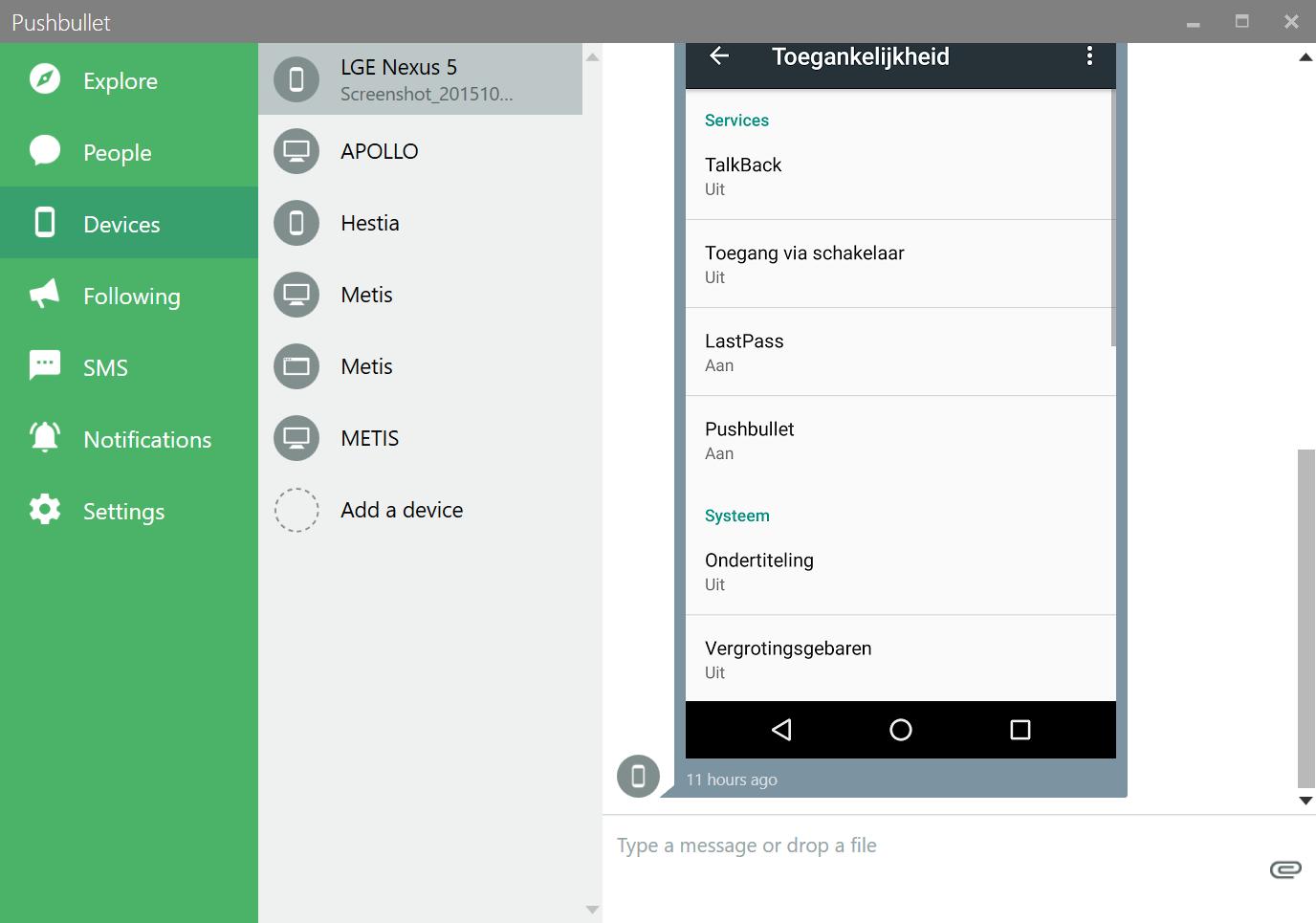 Het hoofdscherm van Pushbullet met links de verschillende tabbladen: People, Devices, Following, Notifications en SMS