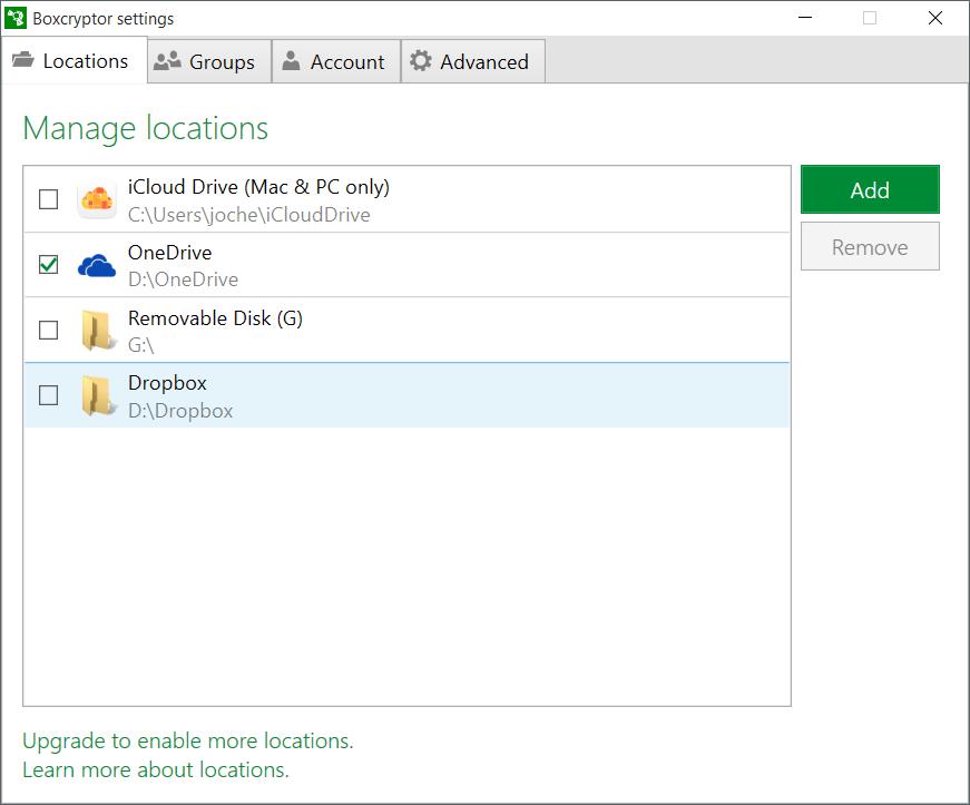 Bij Locations kun je kiezen welke cloudservice je wilt gebruiken. Je moet wel eerst de vorige uitschakelen voordat je een andere kunt selecteren.