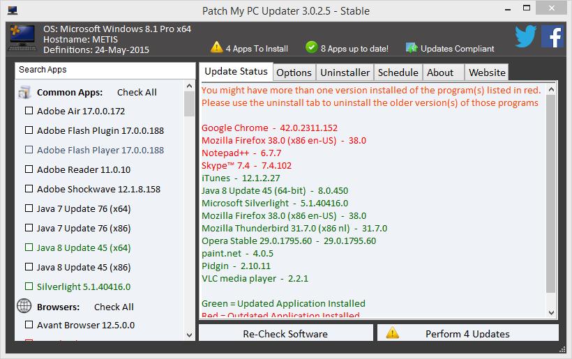 Chrome, Firefox, Notepad++ en Skype zijn allemaal toe aan een update