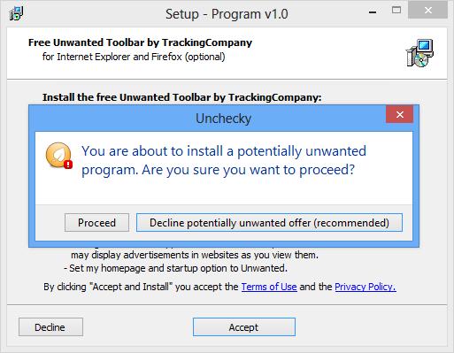 Als je toch een programma vergeet uit te vinken, dan waarschuwt Unchecky je hiervoor
