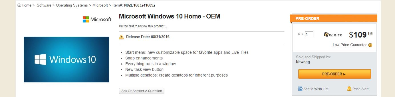 Windows 10 Home, NewEgg