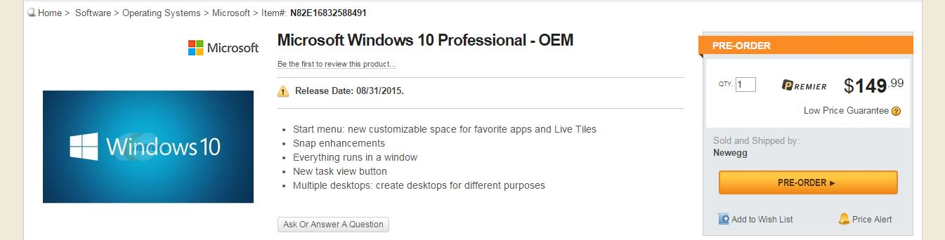 Windows 10 Professional, NewEgg