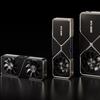 Render van de drie eerste GeForce RTX 30-kaarten van Nvidia