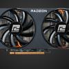 Bovenaanzicht van PowerColor's Fighter-model voor een AMD Radeon RX 6000-generatie videokaart.