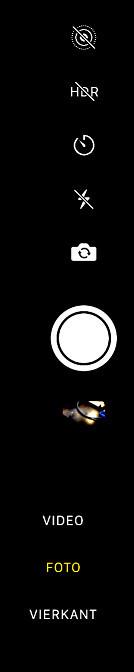 De knoppenbalk in de camera-app van iOS, fotograferen maar!