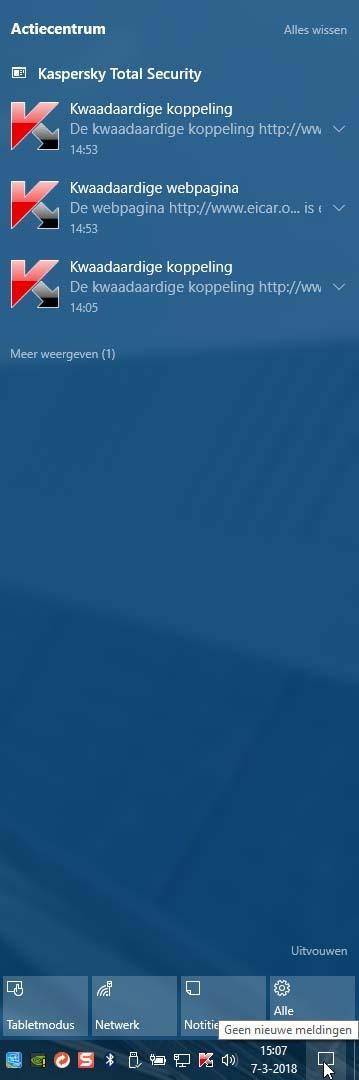 Het Actiecentrum van Windows 10 in Actie, met als voorbeeld wat meldingen van Kaspersky.