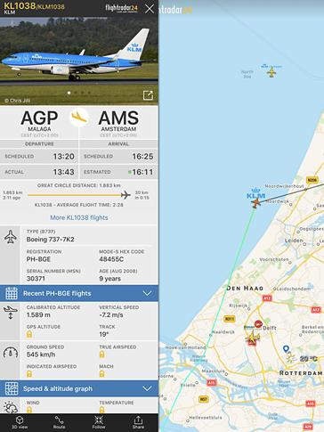 Flightradar24 in actie