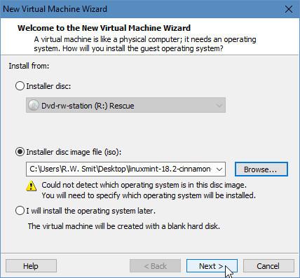 Koppel het ISO-bestand met de Linux Mint-installatie in VMWare