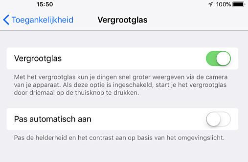 Activeer het vergrootglas in je iPhone of iPad