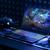 Productfoto van een Acer Predator Helios 300-laptop, compleet met rgb-verlichting en bijbehorende game-accessoires.