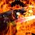 Illustratie van een RTX 3090-videokaart van EVGA in een vlammenzee.