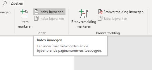 Index invoegen
