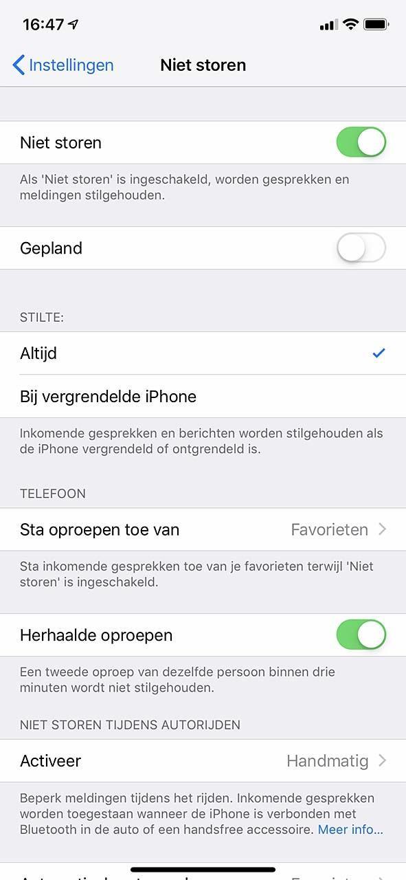 De iPhone kent diverse opties betreffende stilte