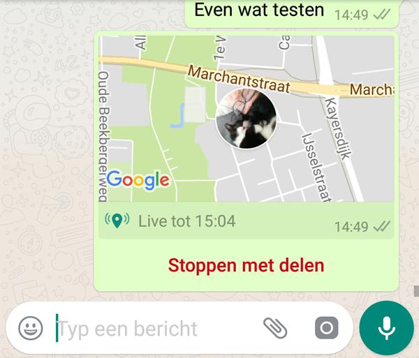 live locatie delen in whatsapp