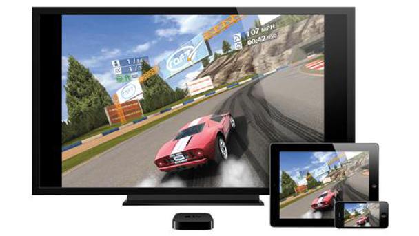 Screenshot van Apple TV op drie schermen