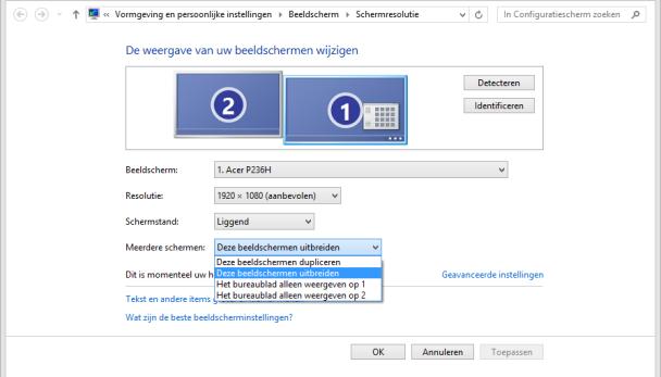 Screenshot van beeldscherminstellingen