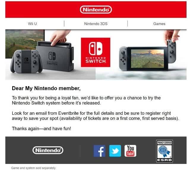 Switch uitnodiging
