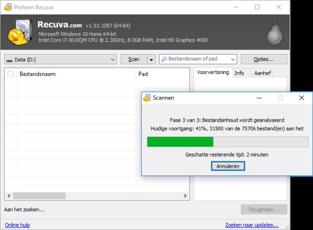 verwijderde foto's terughalen met recuva | apps & software