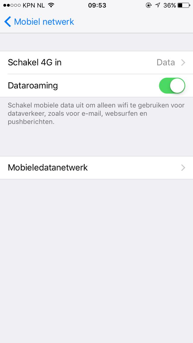 roaming aanzetten