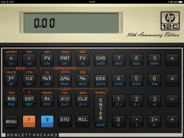 De HP 12C virtuele rekenmachine