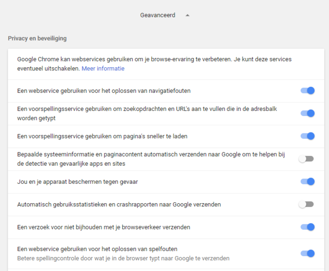 Loop de instellingen betreffende privacy in Chrome even krtitisch door