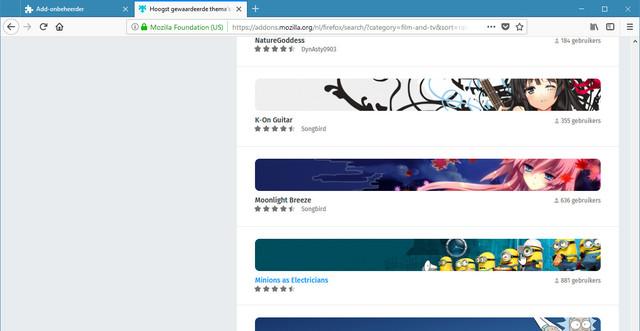 Kies een van de vele beschikbare thema's voor Firefox