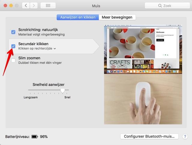 Hier activeer je de rechter muisknop in Mac OS