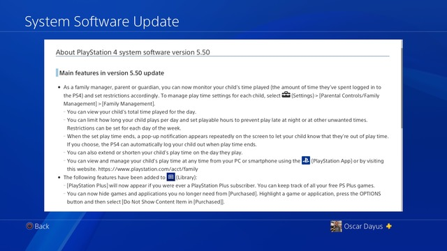 PlayStation 4 5.50 main features