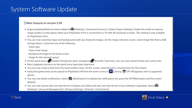 PlayStation 4 5.50 other features