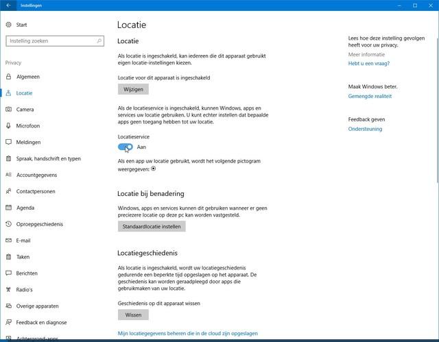 In dit paneel regel je alles wat locatie betreft in Windows 10