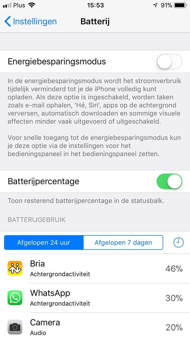 Hier zie je netjes op een rij het energieverbruik van je iOS-apps