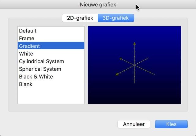 Kies een van de voorgebakken sjablonen voor 3D-grafieken