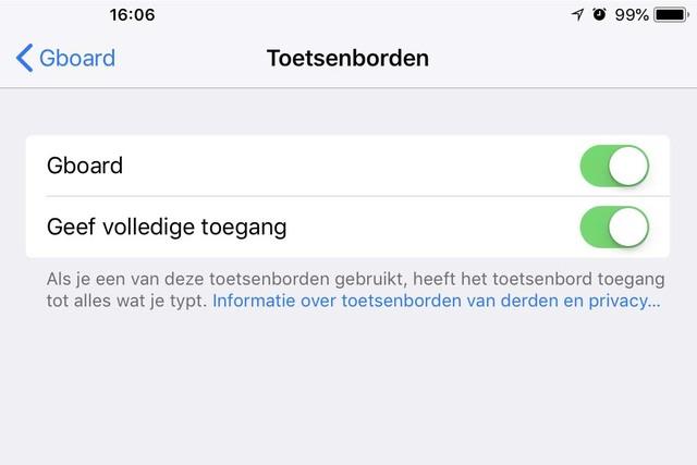 Om een alternatief toetsenbord in iOS te kunnen gebruiken dienen deze schakelaars aan te staan