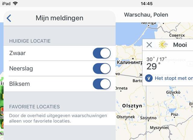 Zet in de app Storm Radar in ieder geval de schakelaars Zwaar en Bliksem aan voor de meest dringende weerwaarschuwingen