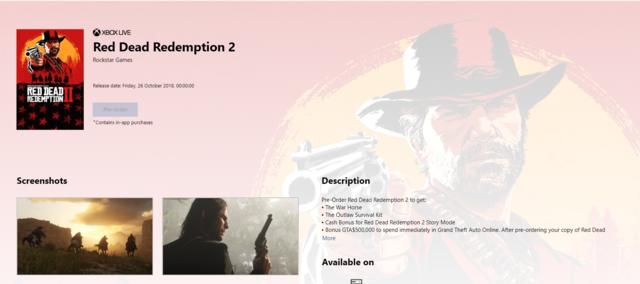 Red Dead Redemption 2 pre order bonus screenshot