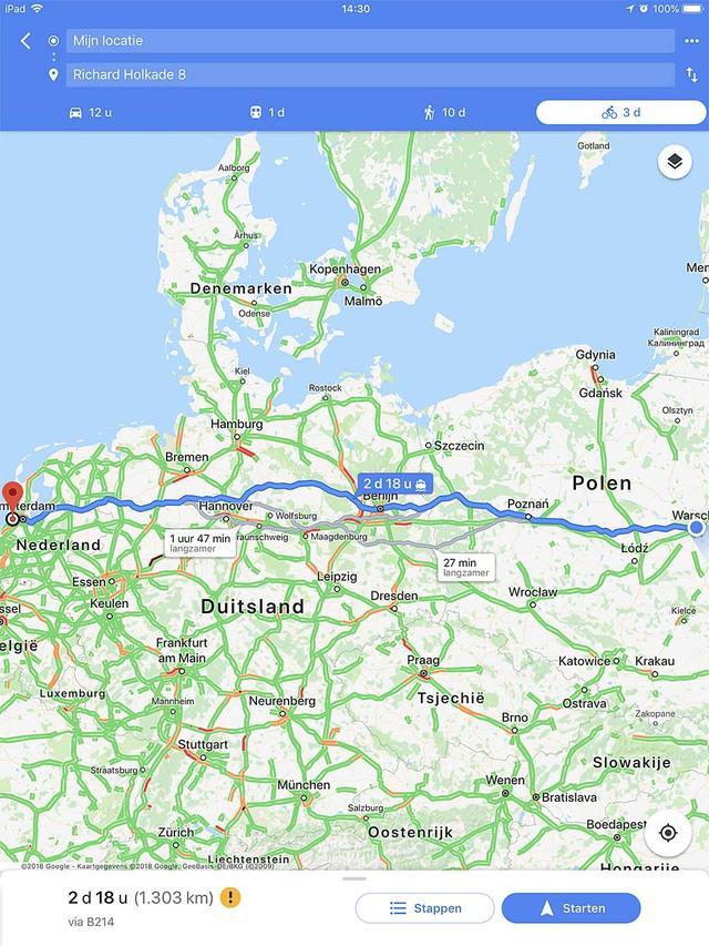 Met Google Maps kan je ook prima op de fiets navigeren