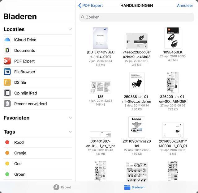 De bestandsbeheerder van iOS is ook beschikbaar in Mail