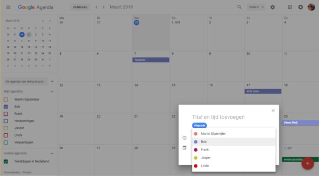 Google Agenda delen