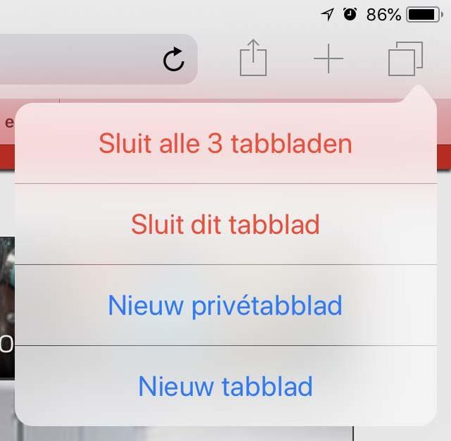 Sluit alle openstaande tabs in Safari voor iOS in een klap