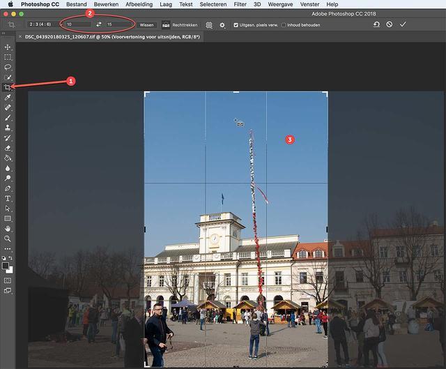Stel de gewenste beeldverhouding in en snijden maar in Photoshop!
