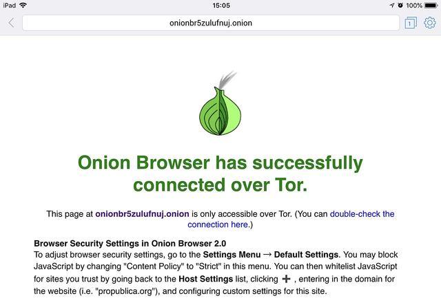 De TOR capabele Onion Browser is geïnitialiseerd en klaar voor gebruik