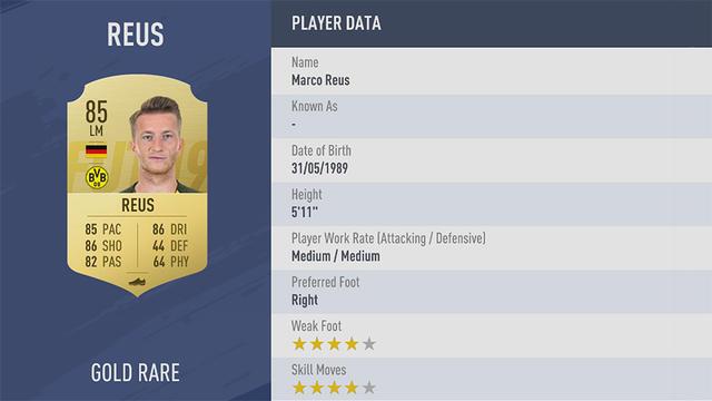 Reus Fifa 19 Ultimate Team