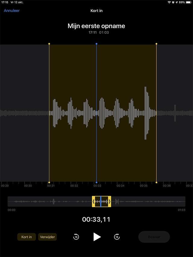Achteraf bewerken van een opname kan in de Dictafoon app van iOS 12
