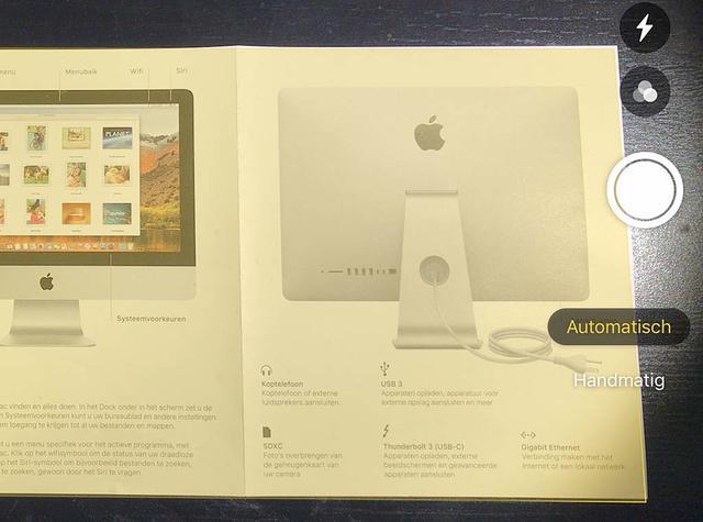 Tijdens het scannen naar macOS Mojave verzorgt je iOS 12-apparaat de randdetectie