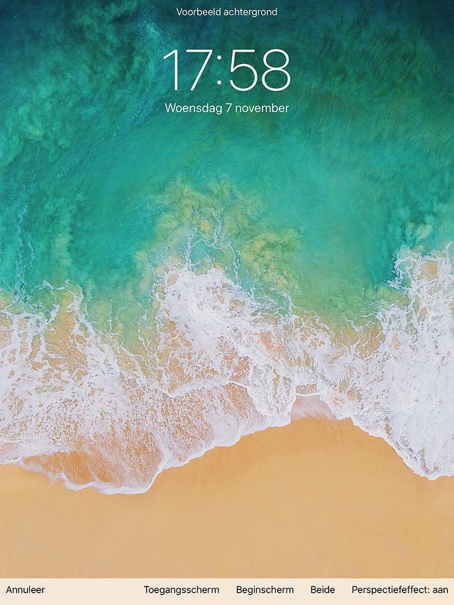 Een preview van je nieuwe achtregrond in iOS
