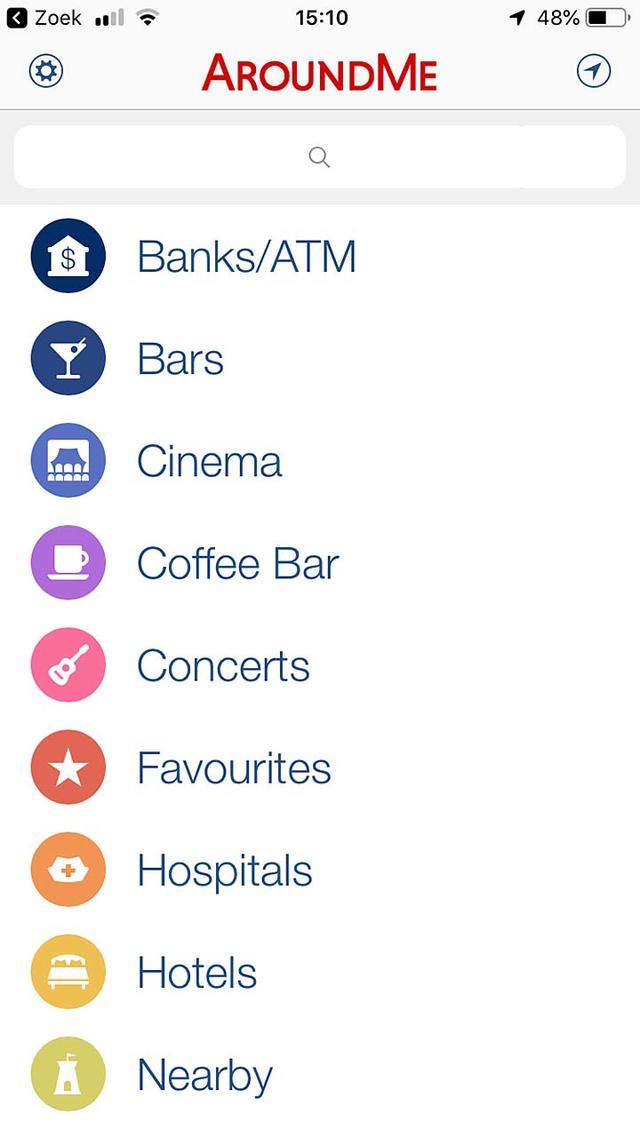 De app AroundMe voor iOS zorgt dat je in een vreemde omgeving snel vindt wat je zoekt